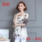 เสื้อชีฟองสีดำพิมพ์ลายดอกไซส์ใหญ่ แขนสามส่วน ทรงปล่อยปกปิดหน้าท้องได้ดี (M,L,XL,2XL,3XL,4XL)