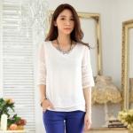 เสื้อชีฟองไซส์ใหญ่ สีขาว แขนสามส่วน ผ้าเนื้อนิ่มใส่สบาย (XL,2XL,3XL)