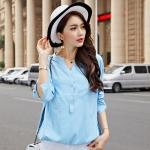 {พร้อมส่ง} เสื้อทีเชิ้ตแขนยาวไซส์ใหญ่สไตล์เกาหลี สีฟ้า (3XL,4XL)