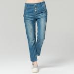 กางเกงยีนส์ขายาว เอวสูง ติดกระดุม (L,XL,4XL)