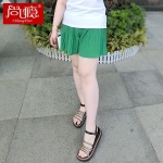 กางเกงขาสั้นผ้าชีฟองไซส์ใหญ่ สีดำ/สีเขียว/สีชมพู (XL,2XL,3XL,4XL,5XL)