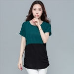[PRE-ORDER] เสื้อยืดแขนค้างคาว ตัดต่อสีผ้า สีเขียวเข้ม (M,L,XL,2XL,3XL,4XL)