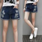 กางเกงยีนส์ขาสั้นขาดๆ สีน้ำเงิน (XL,2XL,3XL,4XL,5XL)