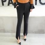 [PRE-ORDER] กางเกงขายาวผ้ากำมะหยี่หนาไซส์ใหญ่ แต่งปลายขาแฉก สีดำ (XL,2XL,3XL,4XL,5XL)