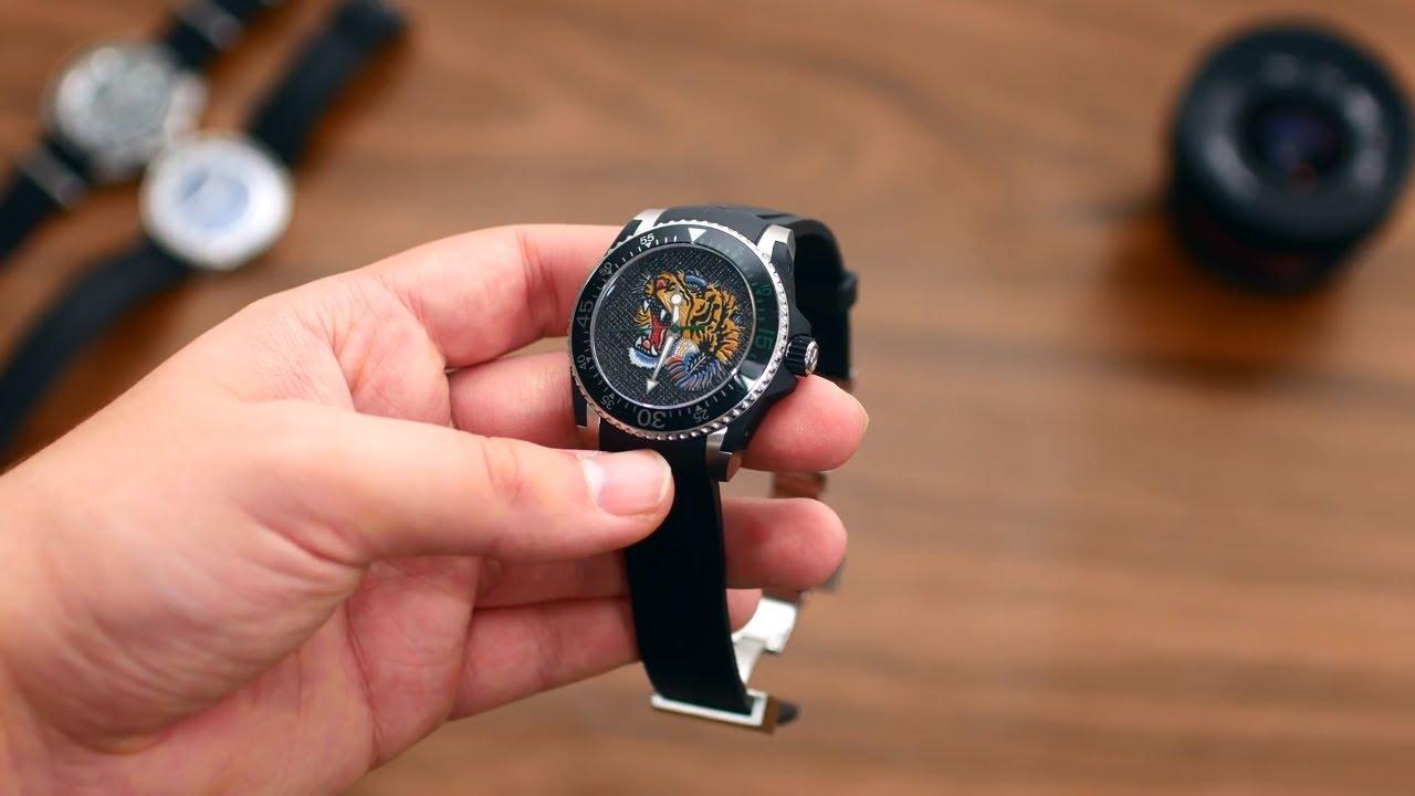 af7352d32 GUCCI Dive Embroidered Tiger Motif Dial Men's Watch Item No ...