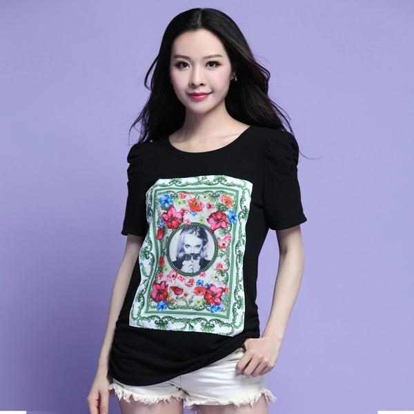 เสื้อยืดคอกลมแขนสั้นสีดำพิมพ์ลายไซส์ใหญ่ (XL,2XL,3XL,4XL)